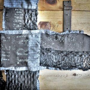 Upcycled black/grey lace & print medium scarf